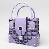 Lilac wicker handbag Royalty Free Stock Image