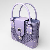 Lilac wicker handbag Royalty Free Stock Photography
