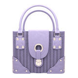 Lilac wicker handbag Stock Photo