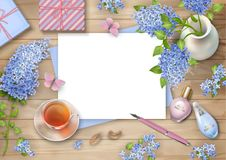 Lilac on wooden background Stock Image