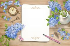 Lilac on wooden background Stock Images