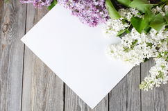 Lilac on wooden surface Royalty Free Stock Images