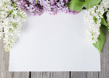 Lilac on wooden surface Royalty Free Stock Image