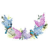 Lilac wreath and birds Stock Images