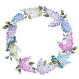 Lilac wreath and birds Stock Photography