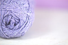 Lilac yarn / wool Macro on soft focus background Royalty Free Stock Photo
