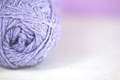 Lilac yarn / wool Macro on soft focus background Royalty Free Stock Photo