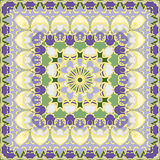 Lilac and yellow colored handkerchief. A vivid Oriental pattern square shape for a scarf. Vector illustration Stock Images