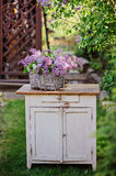 Lilacs bouquet in basket on vintage bureau in spring garden Royalty Free Stock Image