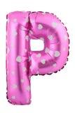 Lilafärgbokstav P som göras av den uppblåsbara ballongen Arkivbilder