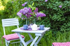 Lilan blommar på tabellen Arkivfoton