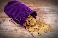 Lilapåse med mynt royaltyfri bild
