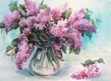Lilas dans un vase en verre Photographie stock libre de droits