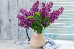 Lilas florecientes en un jarro de cerámica Foto de archivo libre de regalías