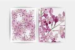 Lilas pourpre floral sur le fond blanc Carte d'invitation de mariage Images libres de droits
