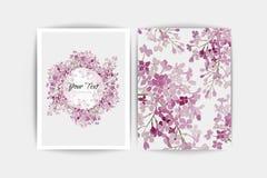 Lilas pourpre floral sur le fond blanc Carte d'invitation de mariage Composition de vecteur Photo libre de droits