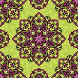 Lilas and yellow ornament. Colorful  ornament. Seamless pattern of mandalas on a yellow background. Template for shawl, carpet, wallpaper Stock Photo