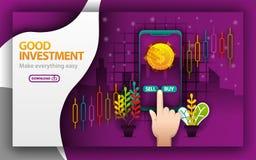 Lilawebpage tema för bra investering materielförsäljningsapplikationen, bestämmer att sälja och köpa använda för och att landa si stock illustrationer