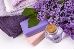 Lili natura kosmetyki, handmade przygotowanie istotni oleje, pachnidło, śmietanki, mydła od świeżego i bez, kwitną zdjęcia stock