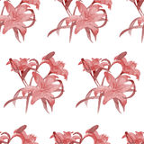 Lili seamless pattern watercolor. Lili watercolor seamless pattern. Painted by hand stock illustration