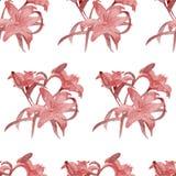 Lili seamless pattern watercolor Stock Photo