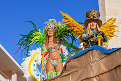 Liliana a Reality Show star in the Carnaval. Sesimbra, Portugal. February 17, 2015: Liliana Filipa Antunes (left), a star from the Secret Story Reality Show royalty free stock image