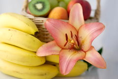 Lilie und Bananen Stockfotos