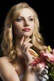 Lilienart und weise portarit, betrachtet sie links Stockbild