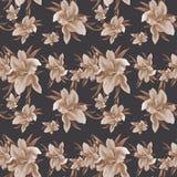 Lilienblumen - Tapete Zeichnender Pastell Nahtloses Muster Lizenzfreie Stockfotografie