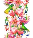 Liliengrenze mit Aquarellvögeln Stockfotografie