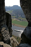 Lilienstein. View from the Bastei to the Elbe and Lilienstein Stock Photos