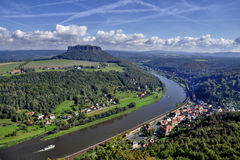Lilienstein mesa above the river Elbe. View to the mountain Lilienstein and the river Elbe. These are part of the beautiful national park Sächsische Schweiz in Stock Photos