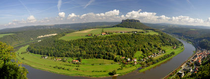 Lilienstein mesa above the river Elbe. View to the mountain Lilienstein and the river Elbe. These are part of the beautiful national park Sächsische Schweiz in Stock Images