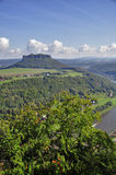 Lilienstein mesa above the river Elbe. Stock Photo