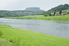 Lilienstein rock with elbe river scenic . Royalty Free Stock Photo