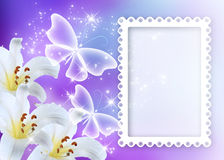 Lilies blossom with butterflies and photo frame. Lilies blossom with transparent butterflies and photo frame stock illustration