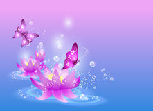Lilies and butterfly. Magic  purple lilies and butterfly Royalty Free Stock Photos