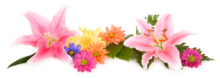 Lilies and Daisies Arrangement Stock Photos