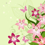 Lilies on an emerald background Stock Photo