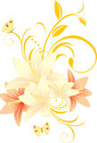 Lilies with floral ornament and butterflies Royalty Free Stock Photography