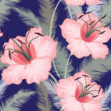 Lilies flower tiled floral geometric seamless pattern. Floral exotic seamless pattern. Flower tropical background. Floral seamless texture with flowers Stock Photo