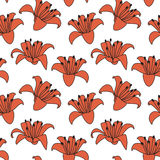 Lilies hand drawn illustration. Hand drawn lily seamless tiling repeat pattern Stock Image