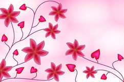 Lilies and hearts. Pattern of pink lilyes and hearts on gradient background Stock Image