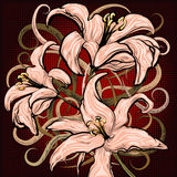 The lilies. Illustration with pink lilies against half toned dark background drawn in cartoon style stock illustration