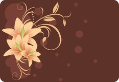 Lilies with ornament. Decorative background Stock Image