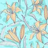 Lilies pastel floral seamless pattern Royalty Free Stock Photography