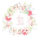 Lilies, roses and fern wedding wreath vector frame Stock Image