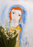 Lilies of the valley. On a drawing with young beautiful girl Royalty Free Stock Photos