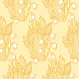 Lilies of the valley flower. Wallpaper textile seamless pattern. Stock Image