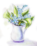 Lilies of the valley in jug. Watercolor painting Royalty Free Stock Photography